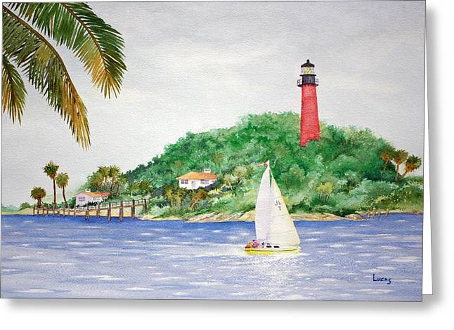 Jetty View Park Greeting Cards - Jupiter Inlet Lighthouse Greeting Card by Jeff Lucas