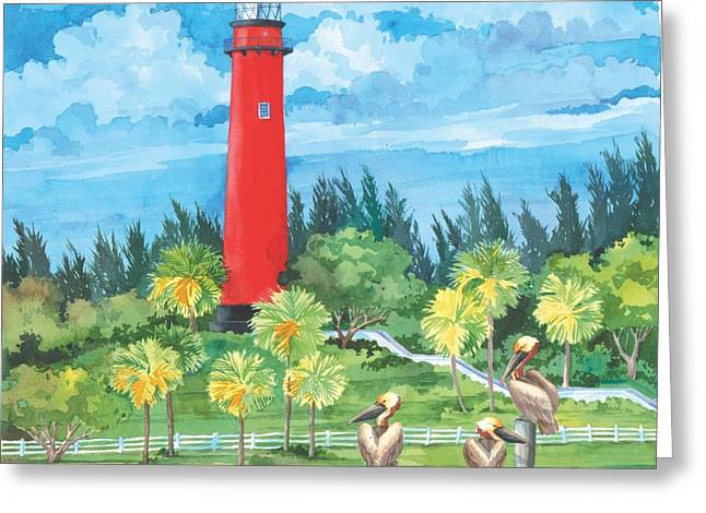 Blue Green Water Greeting Cards - Jupiter Lighthouse  Greeting Card by Paul Brent