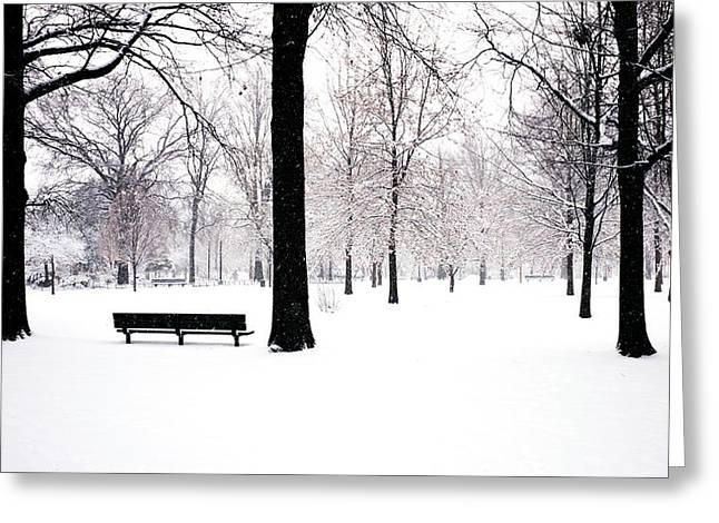Mark Garbowski Greeting Cards - Jupiter Park In Snow Greeting Card by Mark Garbowski