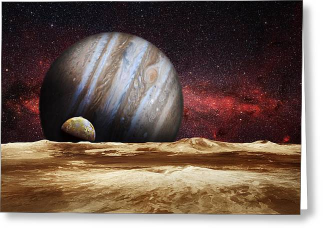 Universe Greeting Cards - Jupiter Rising Greeting Card by Bill  Wakeley