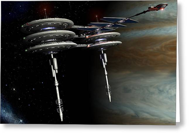 Enterprise Digital Art Greeting Cards - Jupiter Station Greeting Card by Joseph Soiza