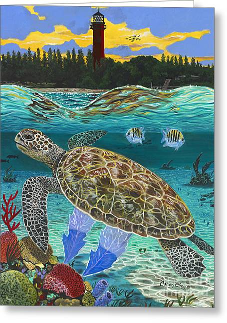 Ocean Turtle Paintings Greeting Cards - Jupiter Turtle Greeting Card by Carey Chen