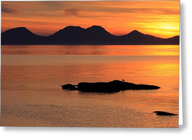 Sunset Seascape Greeting Cards - Jura Sunset Greeting Card by Grant Glendinning
