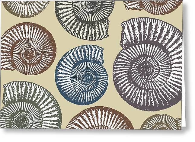 Fossil Art Greeting Cards - Jurassic Coast Greeting Card by Sarah Hough