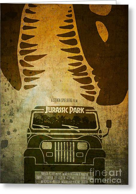Jurassic Park Greeting Cards - Jurassic Park Movie Poster Greeting Card by Ed Burczyk