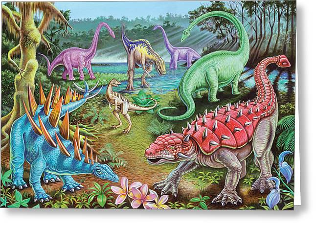 Playroom Greeting Cards - Jurassic Swamp Greeting Card by Mark Gregory