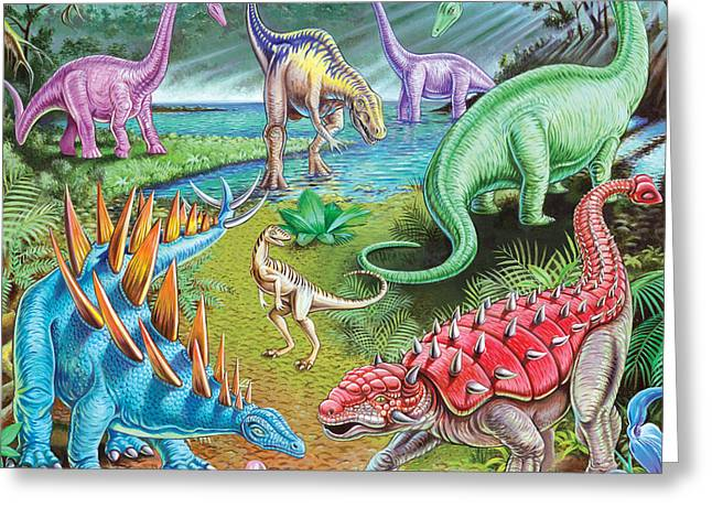 Dinosaurs Greeting Cards - Jurassic Swamp Variant 1 Greeting Card by Mark Gregory