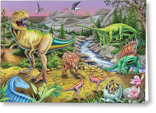 Dinosaurs Greeting Cards - Jurassic Valley Sqaure Greeting Card by Mark Gregory