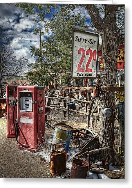 Nostalga Greeting Cards - Just 22 Cents a Gallon Greeting Card by Ken Smith