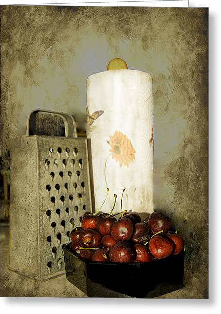 Old Digital Art Greeting Cards - Just a Bowl of Cherries Greeting Card by Judy Hall-Folde