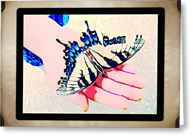 Butterflies Pyrography Greeting Cards - Just A Butterfly Greeting Card by Penny King-Clark