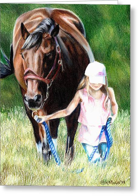 Baseball Field Drawings Greeting Cards - Just a Girl and Her Horse Greeting Card by Shana Rowe