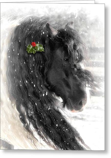 Gypsy Horse Greeting Cards - Just a little Holly will do Greeting Card by Fran J Scott