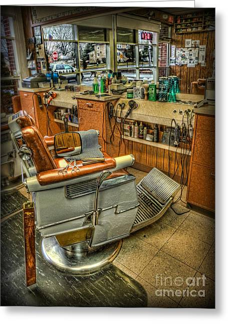 Barberchair Greeting Cards - Just a Little off the Top - Barber Shop Greeting Card by Lee Dos Santos