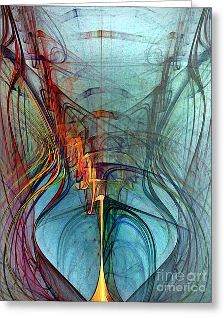 Large Sized Greeting Cards - Just A Melody-Abstract Art Greeting Card by Karin Kuhlmann