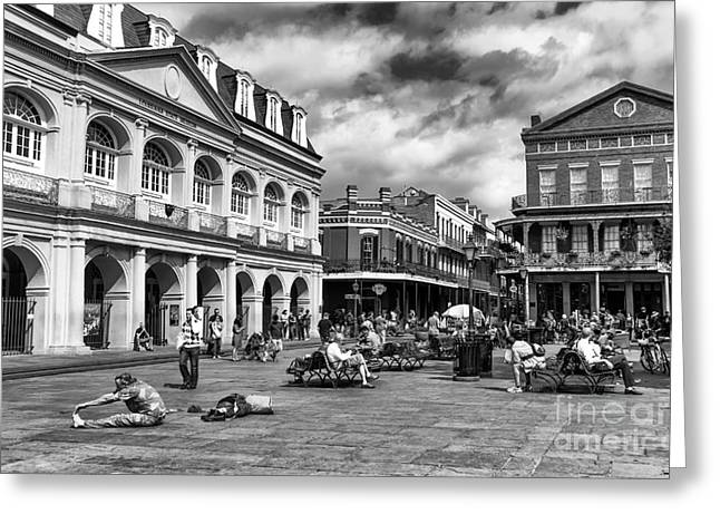 Just Another Day At Jackson Square Mono Greeting Card by John Rizzuto