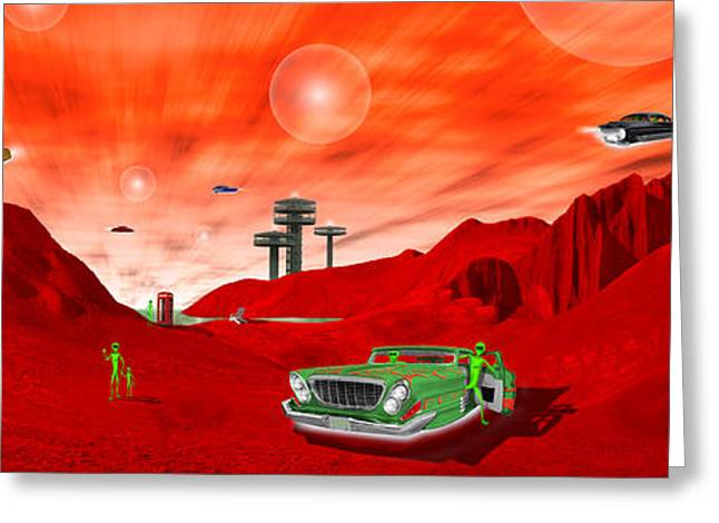 Orb Greeting Cards - Just Another Day on the Red Planet Panoramic Greeting Card by Mike McGlothlen