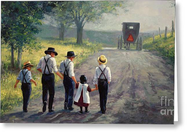 Amish Boy Greeting Cards - Just Around The Bend Greeting Card by Laurie Hein