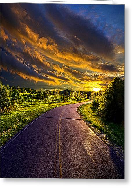 Road Travel Greeting Cards - Just around the Bend Greeting Card by Phil Koch