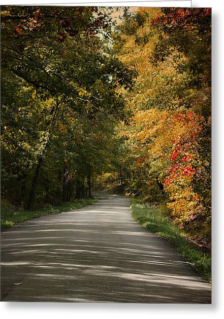Fall Scenes Greeting Cards - Just Around the Corner Greeting Card by Jai Johnson