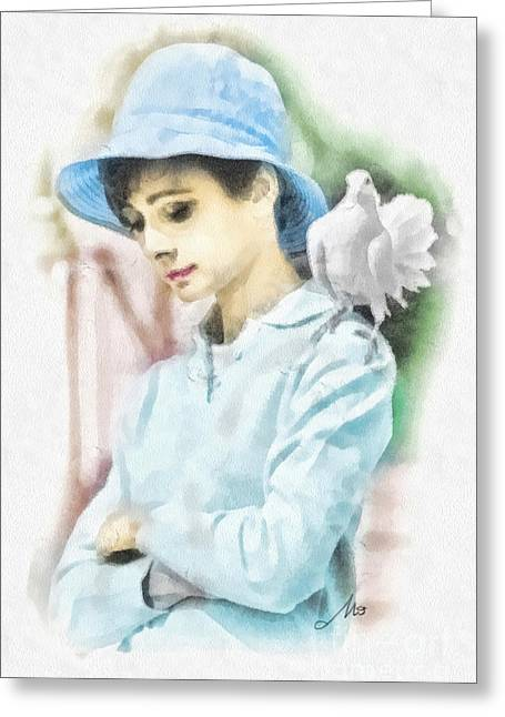 White Paintings Greeting Cards - Just Audrey Greeting Card by Mo T