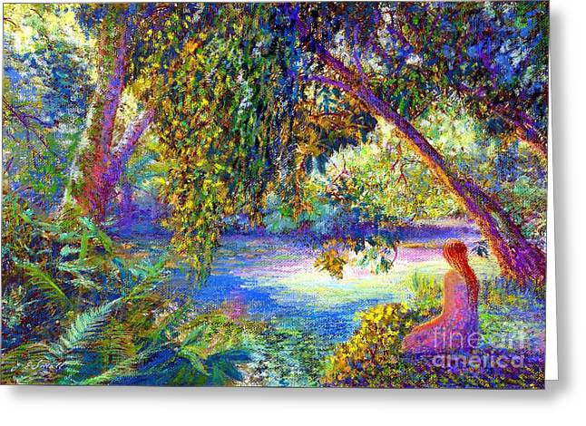 Peaceful Pond Greeting Cards - Just Be Greeting Card by Jane Small