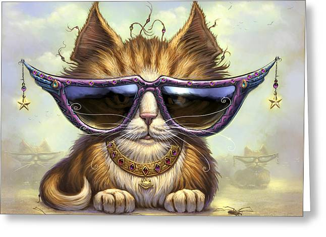 Cat Art Greeting Cards - Just Be Greeting Card by Jeff Haynie