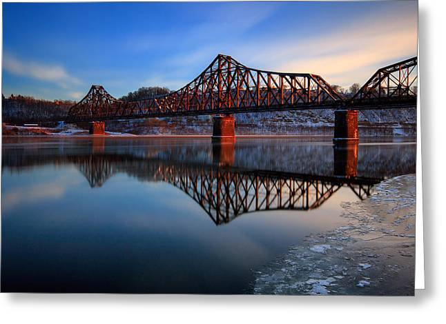 Train On Bridge Greeting Cards - Just before sun down  Greeting Card by Emmanuel Panagiotakis