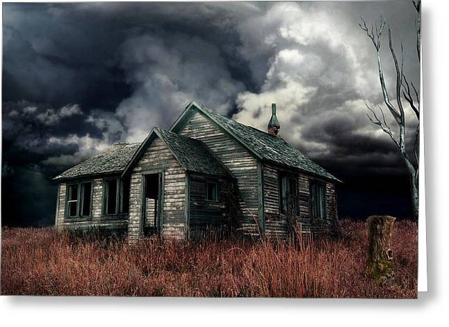 Haunted House Digital Art Greeting Cards - Just before the Storm Greeting Card by Aimelle