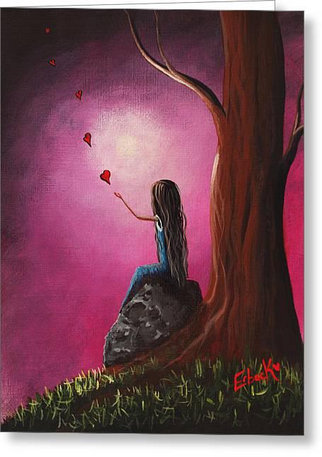 Just Beneath The Moonlight Original Art Greeting Card by Shawna Erback