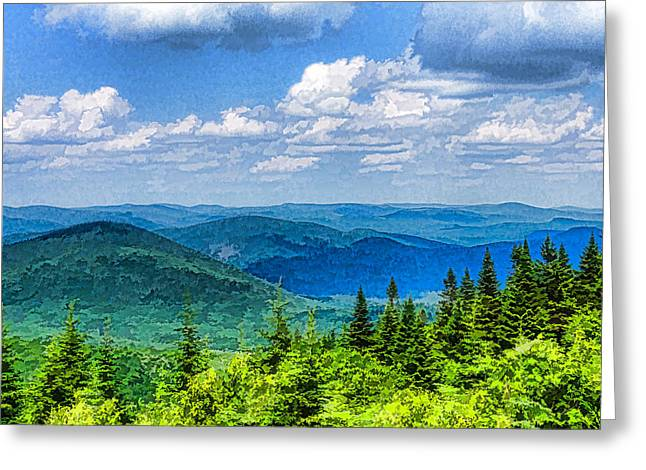 Turbulent Skies Greeting Cards - Just Breathe Deeply - Impressions of Mountains Greeting Card by Georgia Mizuleva