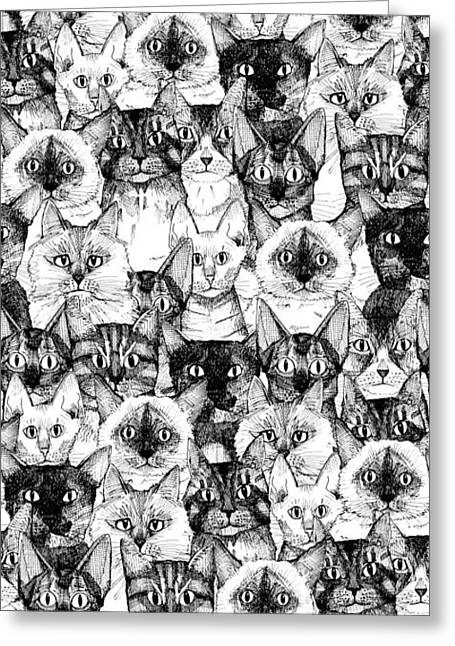 Just Cats Greeting Card by Sharon Turner