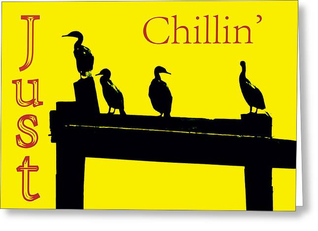 Hanging Out Greeting Cards - Just Chillin Greeting Card by Deborah  Crew-Johnson