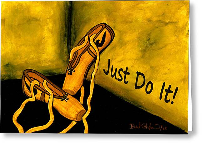 Nike Greeting Cards - Just do it - Yellow Greeting Card by Barbara St Jean