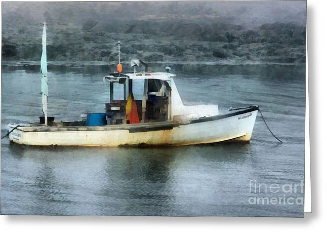 New England Marina Park Greeting Cards - Just Enough Greeting Card by Helene Guertin