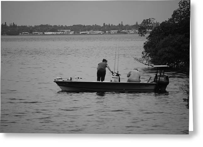 Fishing Boats Greeting Cards - Just Fishing Greeting Card by Cyndi Lenz