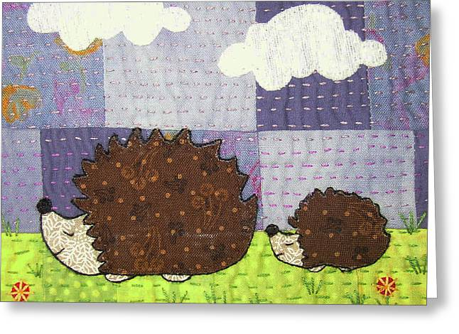 Whimsical Tapestries - Textiles Greeting Cards - Just Following Our Noses Greeting Card by Julie Bull