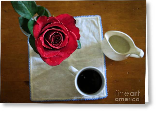 Interior Still Life Digital Greeting Cards - Just For You - Coffee and Red Rose - Still Life Photography Art Greeting Card by Ella Kaye Dickey