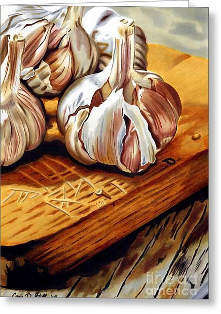 Gilroy Greeting Cards - Just Garlic Greeting Card by Cory Still