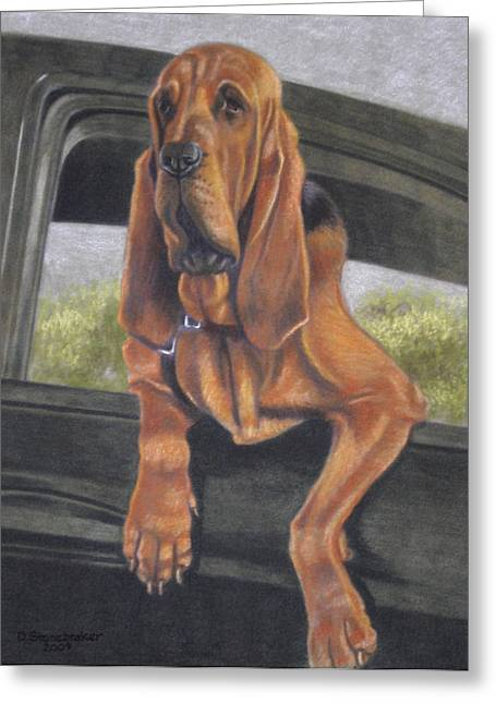 Bloodhounds Greeting Cards - Just Hangin Out Greeting Card by Debbie Stonebraker