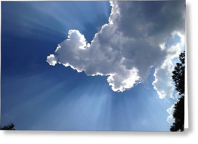 Sun Behind Clouds Greeting Cards - Just Heavenly Greeting Card by Gerry Mattia