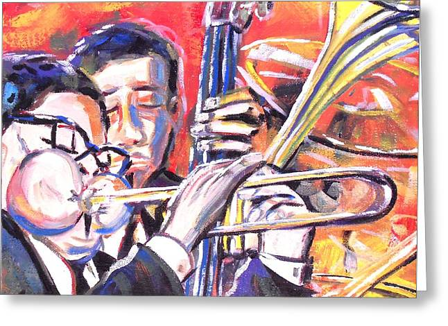 Blackart Greeting Cards - Just Jazz One Greeting Card by Jonathan Tyson