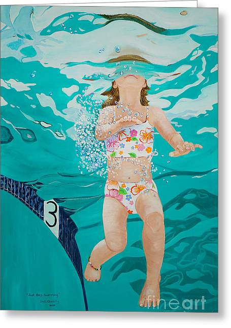 Linda Queally Greeting Cards - Just Keep Swimming Greeting Card by Linda Queally