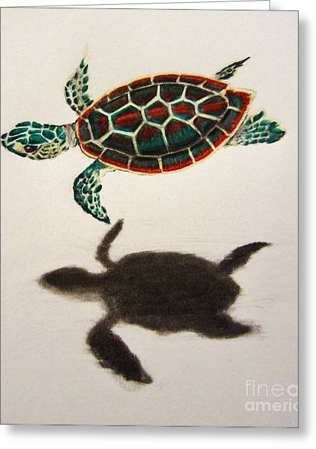 Hovering Mixed Media Greeting Cards - Just Keep Swimming Greeting Card by Shayla Tansey