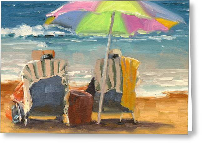 People On Beach Greeting Cards - Just Leave a Message Jr Greeting Card by Laura Lee Zanghetti