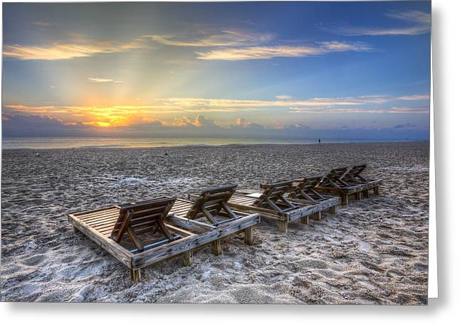 Adirondack Chairs On The Beach Greeting Cards - Just Lounging Around Greeting Card by Debra and Dave Vanderlaan