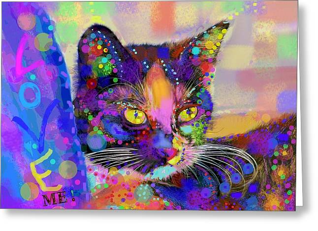 Abstract Digital Mixed Media Greeting Cards - Just love me Greeting Card by Mary Armstrong