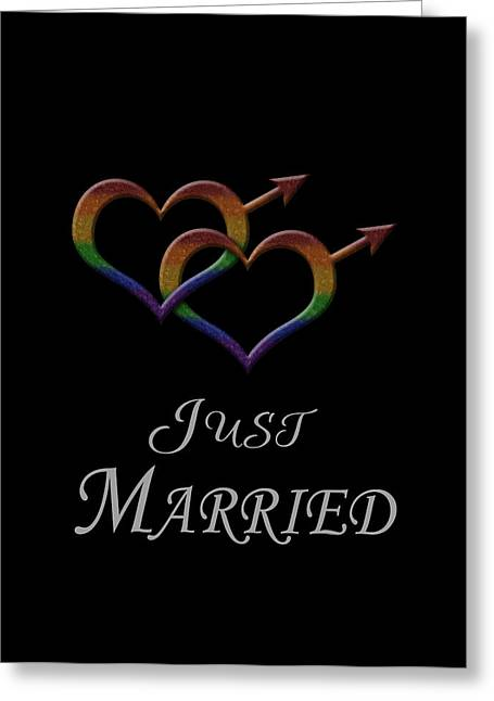 Homosexual Greeting Cards - Just Married Gay Pride Greeting Card by Tavia Starfire