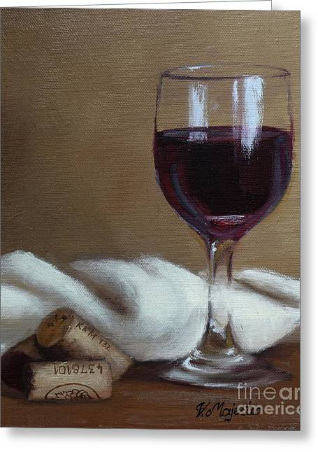 Red Wine Prints Greeting Cards - Just one glass. Greeting Card by Viktoria K Majestic