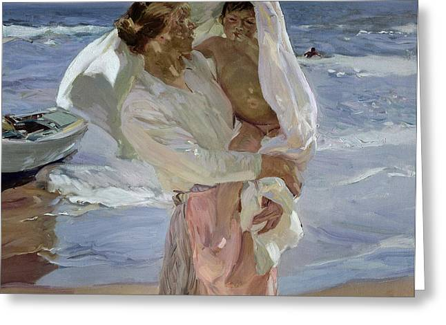 Just Greeting Cards - Just Out of the Sea Greeting Card by Joaquin Sorolla y Bastida